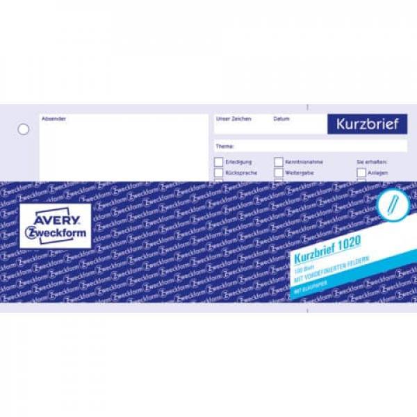 Avery Zweckform 1020 Kurzbrief Din A4 1 3 Vorgelocht 100 Blatt