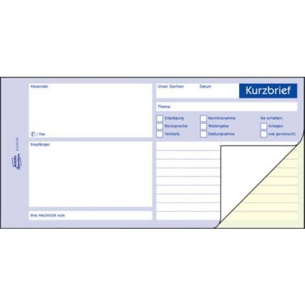 formular kurzbrief