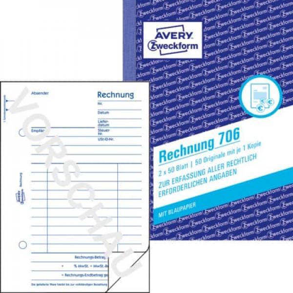 Avery Zweckform 706 Rechnung Din A6 Vorgelocht 2x50 Blatt Weiß