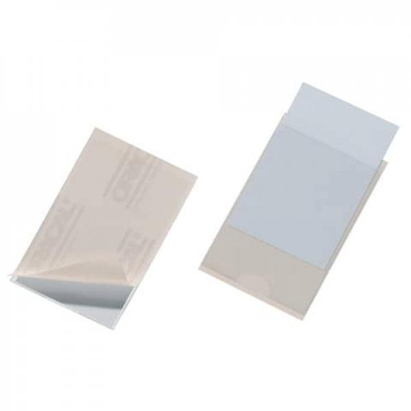 100x DURABLE Selbstklebetaschen Klebehülle POCKETFIX 90 x57 mm seitlich offen