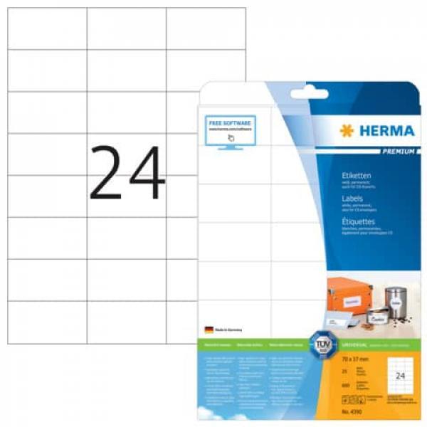 HERMA 4390 Etiketten Premium A4 70x37mm 600 Stück Papier selbstklebend matt weiß