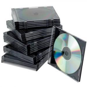 CD-Boxen Standard Slim Line für 1 CD DVD transparent schwarz Pac