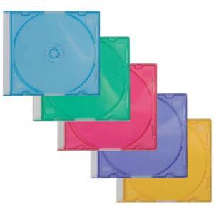 CD-Boxen Standard Slim Line für 1 CD DVD farbig sortiert Packung