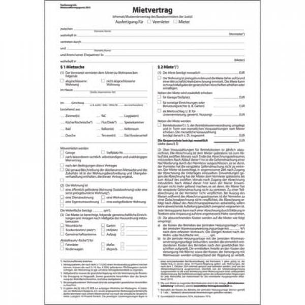 Mietvertrag ehemals Mustermietvertrag A4, 6 seitig