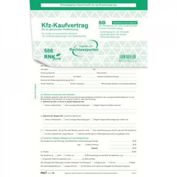 Rnk Kaufvertrag Für Ein Gebr Kfz Sd 1x4 Blatt Din A4 Mit Verka