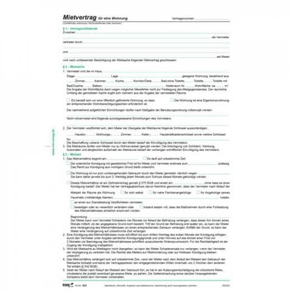 RNK Mietvertrag für Wohnungen ausführliche Fassung 6 Seiten gefa