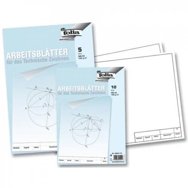 folia Arbeitsblätter für technisches Zeichnen 120g qm weiß DIN A