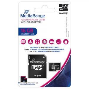MediaRange Micro SDHC Speicherkarte 16GB Klasse 10 mit SD-Karten