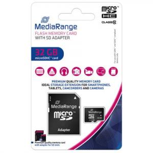 MediaRange Micro SDHC Speicherkarte 32GB Klasse 10 mit SD-Karten