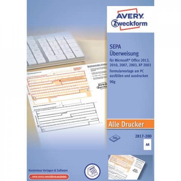 Avery Zweckform 2817-200 Sepa-Überweisung A4, ohne Software 200