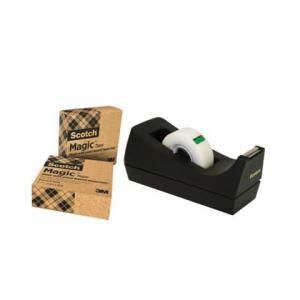 Scotch Tischabroller greenerChoice inkl. 3 Rollen Klebefilm schw