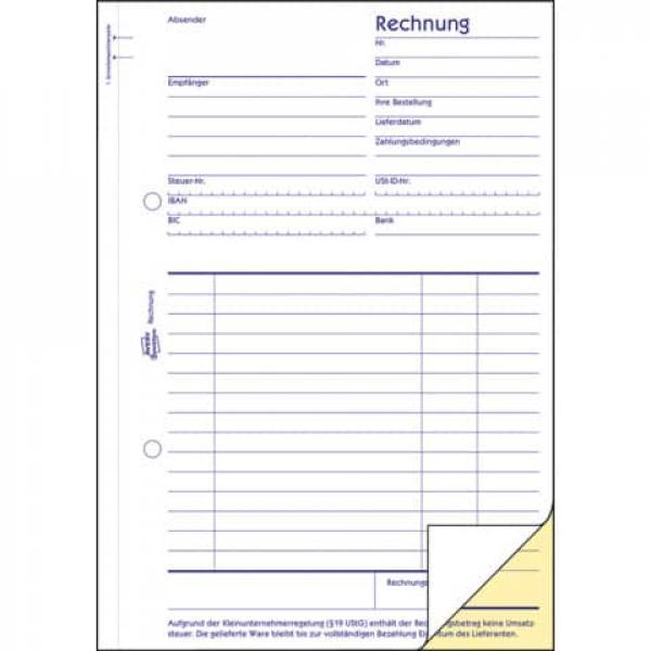 Avery Zweckform 1733 Rechnung Kleinunternehmer Selbstdurchschrei