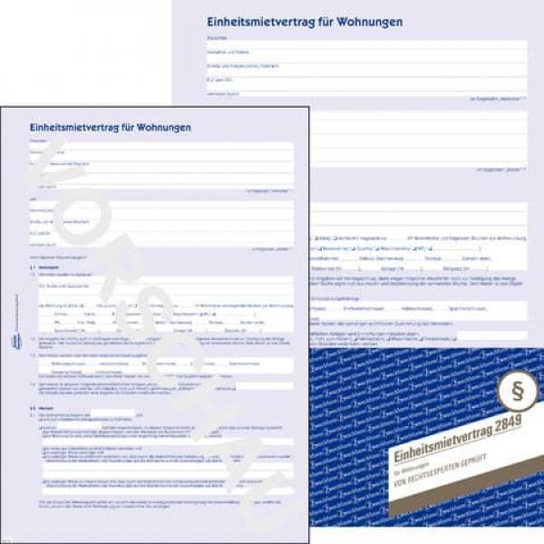 2849 Einheitsmietvertrag Für Wohnungen Din A4 Mit Hausordnung 1