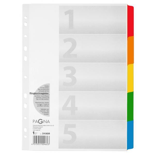 PAGNA Kartonregister DIN A4 weiß//farbig 12 teilig mit Deckblatt Registereinlagen