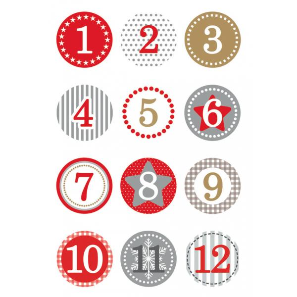 "HERMA Weihnachts-Sticker DECOR /""Adventskalender/"" grau 2 Blatt à 12 Sticker"