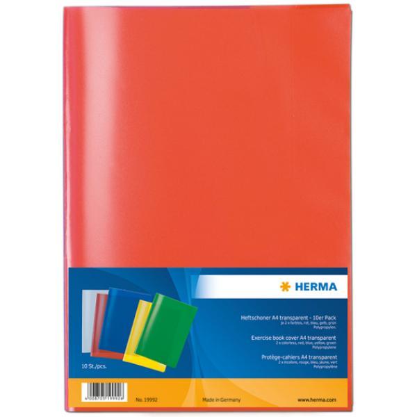 5 Heftumschläge // Hefthüllen DIN A4 // je 1x grün blau violett gelb rot