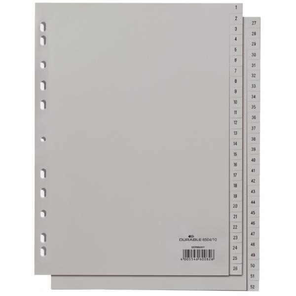 DURABLE Kunststoff Register Zahlen A4 12 teilig 1-12