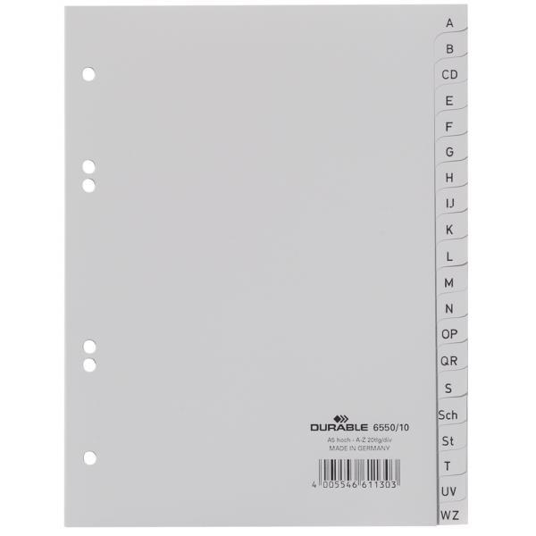 DURABLE Kunststoff Register DIN A4 PP 10-teilig grau