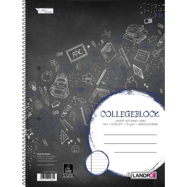 """LANDRÉ Collegeblock /""""Recycling/"""" DIN A4 liniert 80 Blatt"""