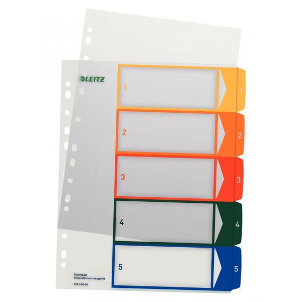 LEITZ Kunststoff Register Zahlen A4 Überbreite 1-5 PC beschriftbar