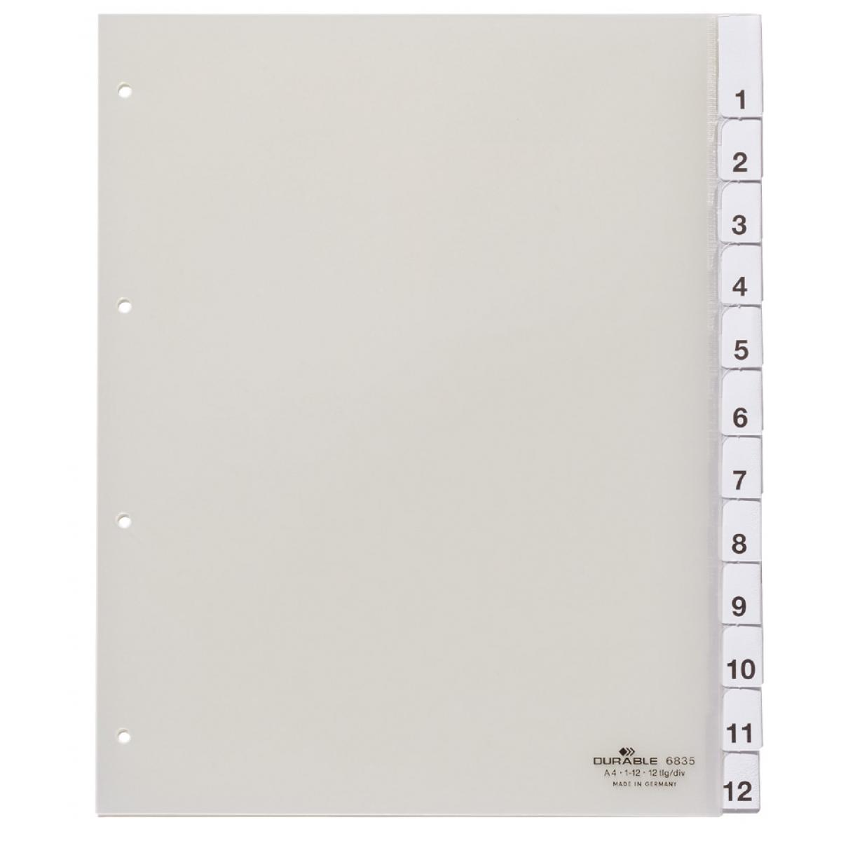 DURABLE Kunststoff-Register, A4, 12-teilig, transparent (4005546640006)